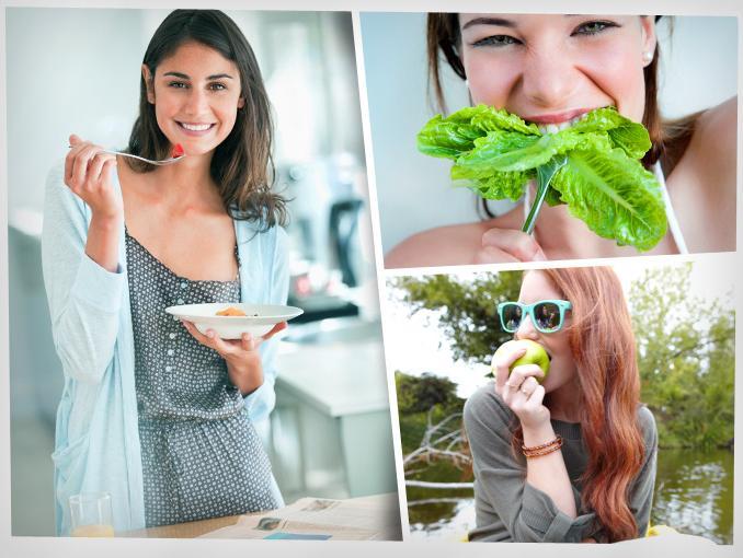 Mujeres comiendo sano y cuidando el medio ambiente