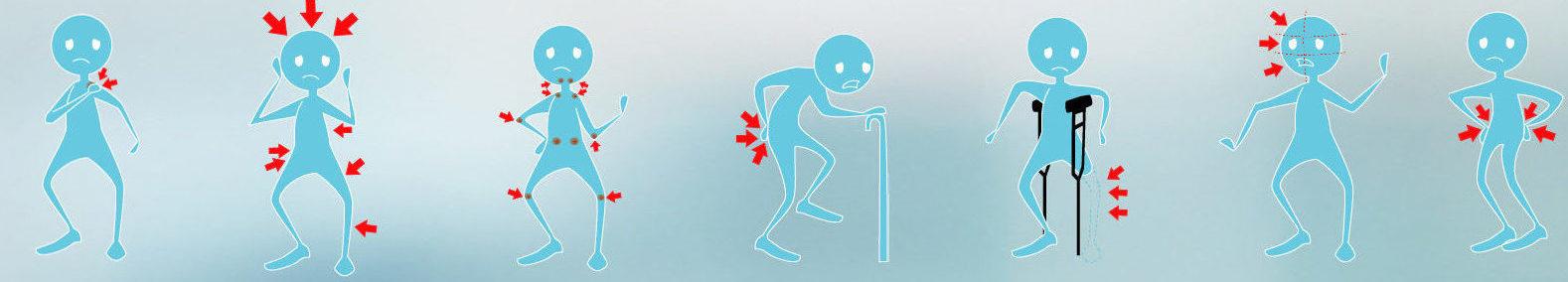 Dibujos de personas con diferentes dolores señalizados con flechas rojas