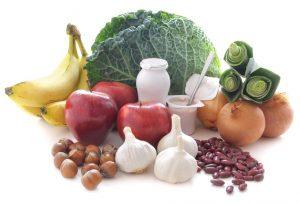 Alimentos considerados prebioticos como ajos,manzanas,legumbres...