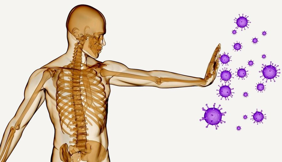 Esqueleto humano defendiendose de virus morados