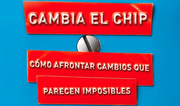Cambia el chip escrito en vinilo rojo sobre fondo azul