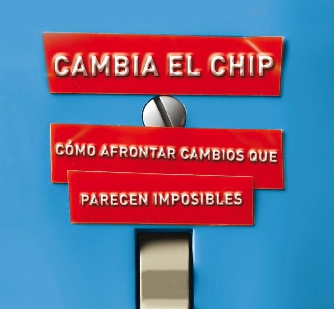 Cartel de cambiar el chip rojo, con letras blancas sobre fondo azul