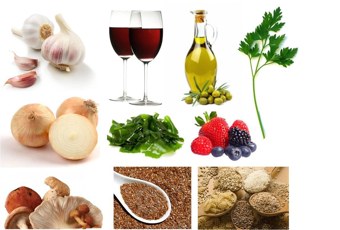 Diferentes alimentos anticancer como aceite de oliva ,semillas, cebolla,ajo...