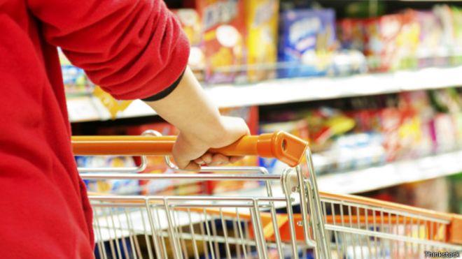 Persona con carro de supermercado haciendo la compra
