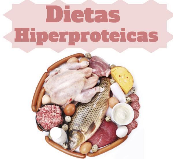 DIeta hiperproteica escrito en rosa y alimentos que la incluyen debajo